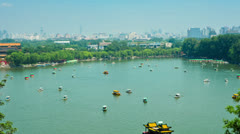 Boats on the lake of Beihai Park Stock Footage
