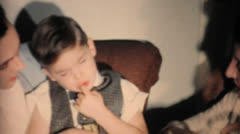 Tired Boy Sleeping At Family Get Together-1962 Vintage 8mm film Stock Footage
