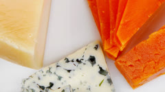 aged parmesan roquefort and gruyere chops - stock footage