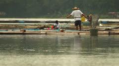 Lake fisherman Stock Footage