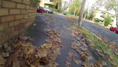 Kicking Leaves Slow Motion Stock Footage
