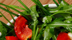 Appetizer : salad with raw tomato and green staff Stock Footage
