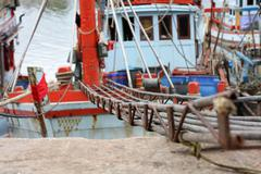 route of descent fishing boat - stock photo