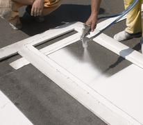 crosswalk repairing - stock photo