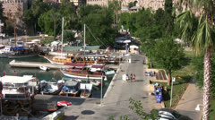 Long shot of Kaleici harbor looking down from a high vantage point - stock footage
