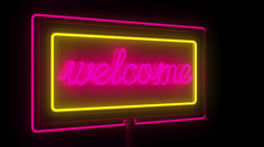 Welcome, open neon sign Stock Footage