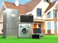 home appliances. tv, refrigerator, microwave, laptop and  washing maching. - stock illustration