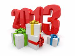 happy new year 2013. gifts on white background. - stock illustration
