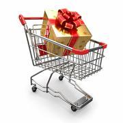 Gift in shopping cart on white background. 3d Stock Illustration