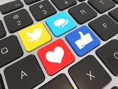social media on laptop keyboard. conceptual image. 3d - stock illustration