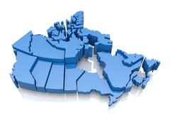 three-dimensional map of canada on white background. 3d - stock illustration
