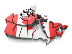 map of canada in national flag colors. 3d - stock illustration