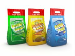 Three pack of washing powder on white background. 3d Stock Illustration