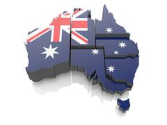 map of australia in national flag colors. 3d - stock illustration