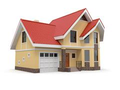 house on white background. three-dimensional image. 3d - stock illustration