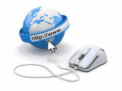 concept of internet browser. earth, cursor and computer mouse. 3d - stock illustration
