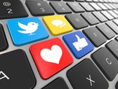 Stock Illustration of social media on laptop keyboard. conceptual image. 3d
