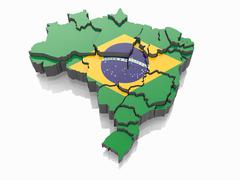 1 map of brazil in brazilian flag colors. 3d Stock Illustration