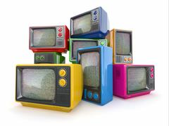 heap of vintage tv. end of television. conceptual image. 3d - stock illustration
