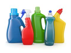 plastic detergent bottles on white background. cleaning products. 3d - stock illustration