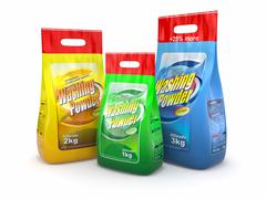 three pack of washing powder on white background. 3d - stock illustration