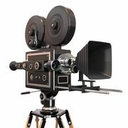 Vintage movie camera. 3d Stock Illustration
