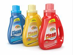 Plastic detergent bottles on white background. cleaning products. 3d Stock Illustration