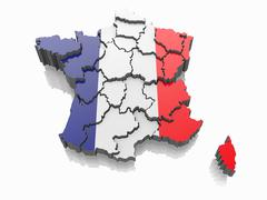 1 map of france in french flag colors. 3d - stock illustration