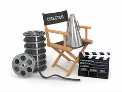 movie industry. producer chair, ñlapperboard and film reel. 3d - stock illustration