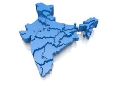 Stock Illustration of 1 three-dimensional map of india on white background. 3d