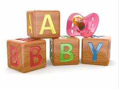 Baby from alphabetical blocks and dummy. Stock Illustration