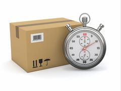Express delivery. stopwatch and package on white background. 3d Stock Illustration