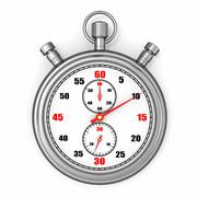 Analog stopwatch on white isolated background. 3d Stock Illustration