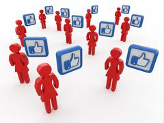 concept of social network. men with like sign on white background. 3d - stock illustration