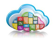 Cloud computing. clouds as application icons on white background. 3d Stock Illustration