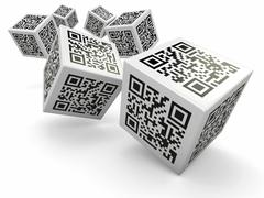 Lottery. qr code cubes as dice. 3d Stock Illustration