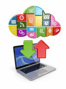 Cloud computing. laptop and icons software. 3d Stock Illustration