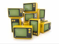 Stock Illustration of heap of vintage tv on white background. 3d