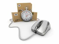 Online express delivery. mouse, stopwatch and package. 3d Stock Illustration