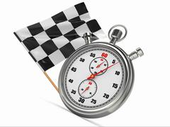 stopwatch with checkered flag. start or finish. - stock illustration