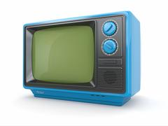 blue vintage retro tv on white background. - stock illustration