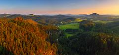 Sunset in mountain with sandstone - saxony Stock Photos