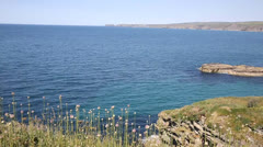 Cornish coast view from Port Isaac Cornwall towards tintagel Stock Footage