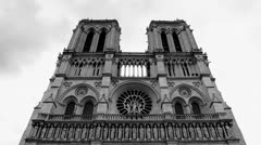 Notre Dame Cathedral 10  - Paris, France - BW Stock Footage