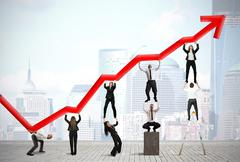 Teamwork and corporate profit with red statistical trend Stock Illustration