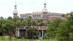 Pan across University of Tampa campus Stock Footage