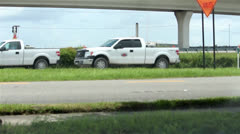 Construction zone traffic in Tampa Stock Footage