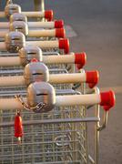 Supermarket karts Stock Photos