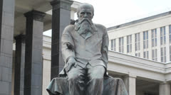 Dostoevsky Statue at Lenin Library Stock Footage