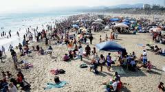 Crowded Santa Monica Beach California Stock Footage
